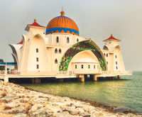The Melaka Straits Mosque on water.