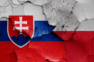 flags of Slovakia and Poland painted on cracked wall
