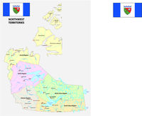 northwest territories political and administrative regions map with flag canada