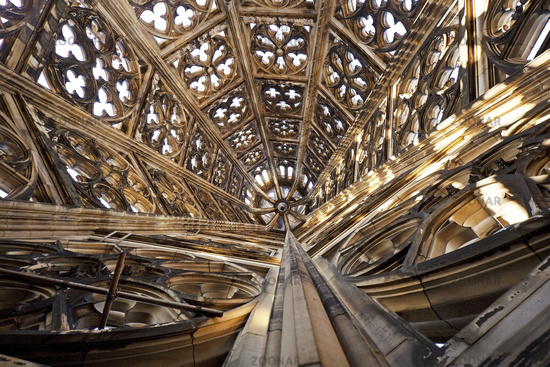 Cologne Cathedral, view into the top of a tower, Cologne, North Rhine-Westphalia, Germany, Europe