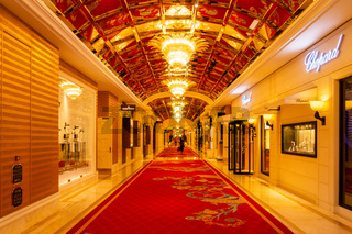 October 31, 2019: MACAU, CHINA - Interior of the Wynn Palace, a Large Upscale Casino and Hotel with a Number of Luxury Brands