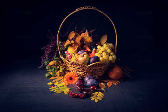 autumnal cornucopia in round basket