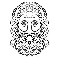 Zeus Greek God Head Portrait Cartoon Retro Drawing