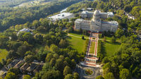 Aerial View Isolated on the State Capital Capitol Building Frankfort Kentucky