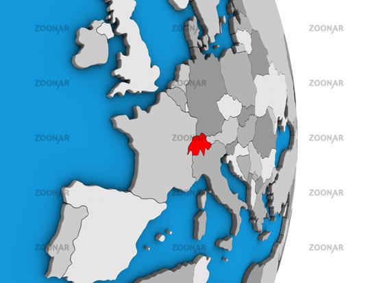 Switzerland on 3D globe