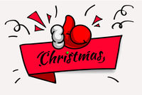 Christmas red banner with thumbs up, vector illustration.