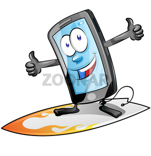 fun smartphone character cartoon  on surfboard. isolated on white background. clip art vector