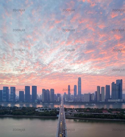 beautiful changsha city with morning glow
