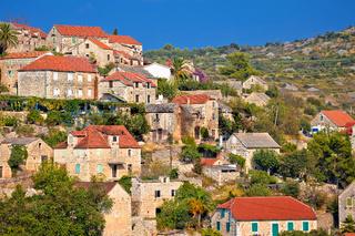 Historic hillside stone village of Lozisca on Brac island