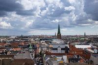 Panorama aerial view of Copenhagen, Denmark