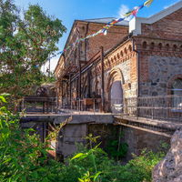 Old hydroelectric station on the Southern Bug River in Migiya, Ukraine