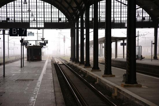 Platform in the fog