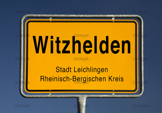 Town entrance sign of Witzhelden, district of Leichlingen, Germany, Europe