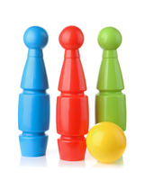 Plastic bowling pins and ball