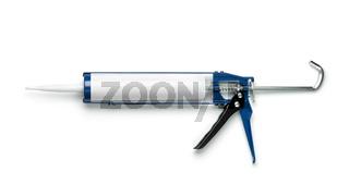 Caulking gun with blank plastic sealant tube