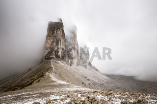 Snowy day, overcast skies on the Drei Zinnen Lavaredo