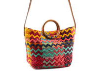 Colorful striped bag with handles isolated