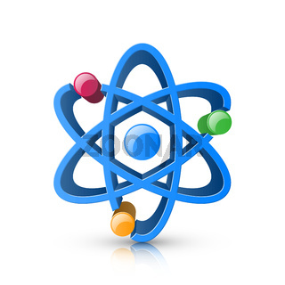 3d realistic atom icon on the white background.