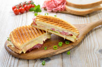 Toasted and pressed sandwich with salami