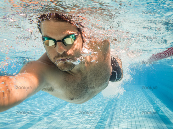 Male swimmer in the swimming pool.Underwater photo with copy space.