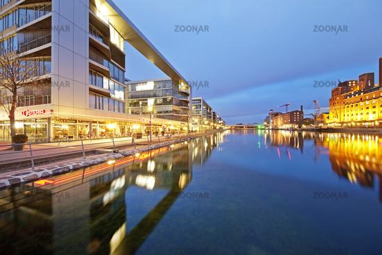 Inner harbor at twilight, Duisburg, Ruhr area, North Rhine Westphalia, Germany, Europe