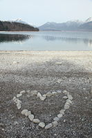heart symbol on beach
