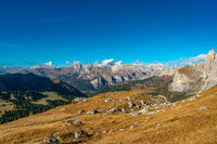 Beautiful panorama view of the Puezgroup massif in the italian Dolomites mountains