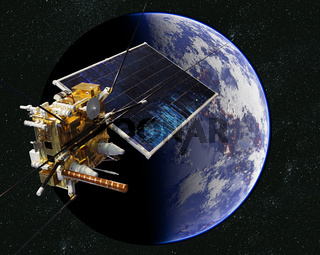 Modern weather scientific satellite at the Earth orbit
