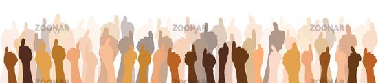 Panorama mit Daumen hoch Händen als Team Konzept