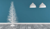 Modern room with a white Christmas tree