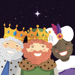 Happy three kings smiling in the night