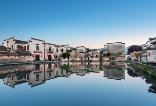 chinese ancient houses in early morning