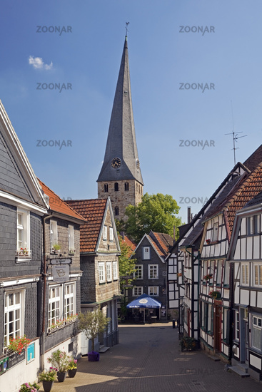old city with the steeple of church St. Georg, Hattingen, North Rhine-Westphalia, Germany, Europe