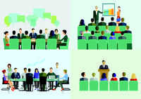 Business team at a meeting- illustration