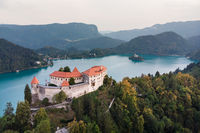 Medieval castle on Bled lake in Slovenia