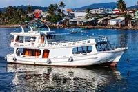 Pleasure boat in bay of Phu Quoc Island. Vietnam.
