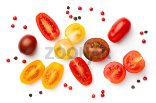 Fresh Colorful Cherry Tomatoes Isolated On White
