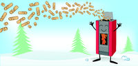 Wood pellett stove cartoon on christmas banner background