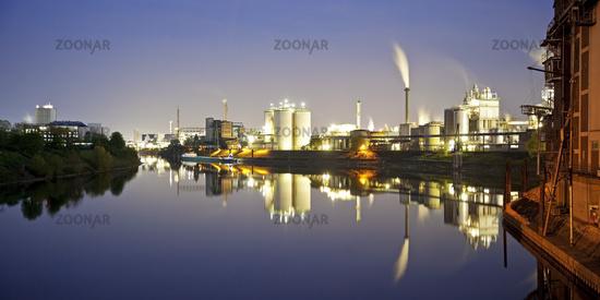Rhine port in the evening, Krefeld, Lower Rhine, North Rhine-Westphalia, Germany, Europe