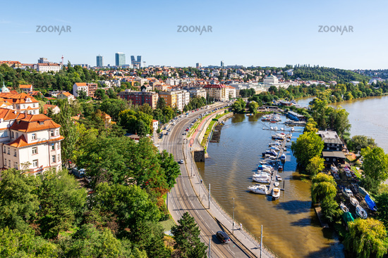 Marina at the river Vltava in Prague