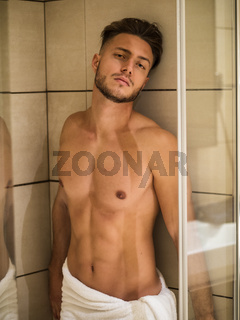 Naked Athletic Man Taking Shower at the Bathroom