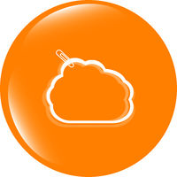abstract cloud upload icon button, design element
