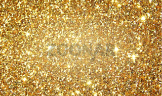 Golden glitter shining background, abstract sparkling texture, festive christmas decor with gold lights, vector illustration.