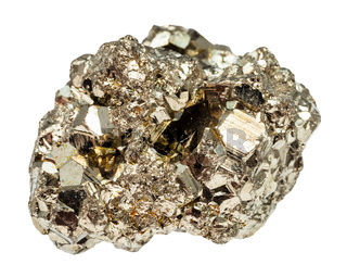 crystalline iron pyrite stone isolated