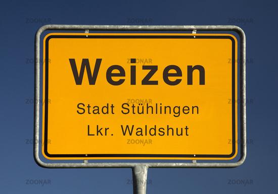 ity limits sign, Weizen or wheat, city Stuehlingen, Waldshut, Baden-Wuerttemberg, Germany, Europe