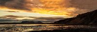 Mountains and ocean near Hvitserkur in Iceland at sunrise