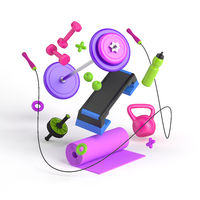 3d-illustration of the fitness equipment: step platform, weight, dumbbells, water bottle, jump rope, yoga mat, apples