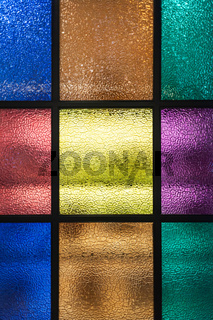 Decorative window of various colored rectangles