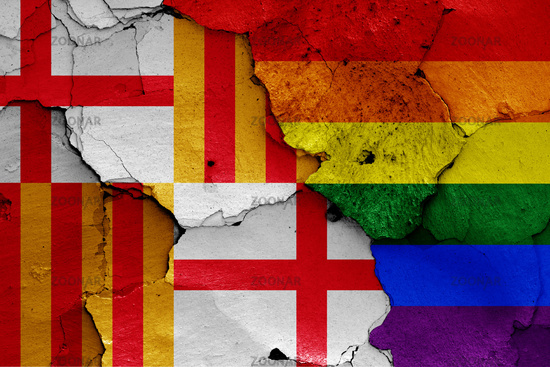 flags of Barcelona and LGBT painted on cracked wall