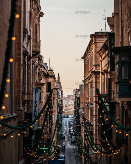 Valleta Malta Street Looking Down Lights Alley Buildings Walls Travel Location